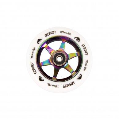 Triukinio paspirtuko ratukas Monkey 5-spoke white on neochrome 110mm
