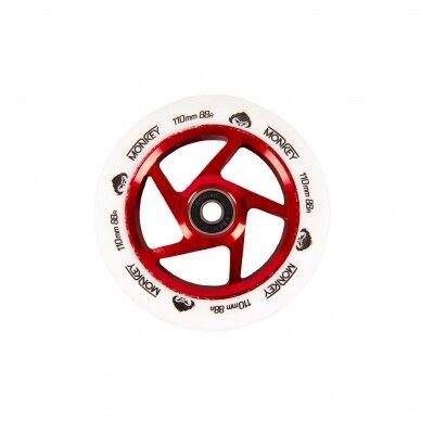Triukinio paspirtuko ratukas Monkey 5-spoke white on red 110mm
